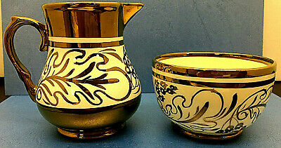 WADE HEATH England Bowl and Pitcher Copper Luster