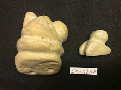 GD-2/10A Pre-Columbian Southern Arawak Lot of 2 Grenadaite Statues 300bc-600ad