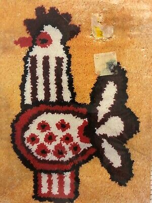 Retro Rooster Latch Hook Pattern - Vintage Malina Printed Canvas # 404