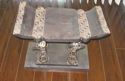 Hand Crafted & Painted Wood Stool Seat Giraffe Legs Primitive Style