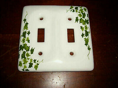 Double Electric Light Switch Plate Cover Ivy Ceramic