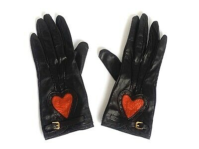 Women's Moschino Vintage Black Leather w/ Red Heart & Gold Buckle Gloves, Size 7
