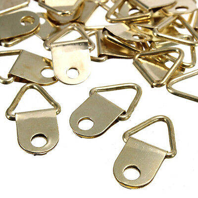 20Pcs Golden Brass Triangle Photo Picture Frame Wall Mount Hook Hanger Rings HO