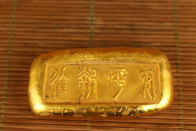 chinese old brass not gold hand carved qing dynasty statue art collectable