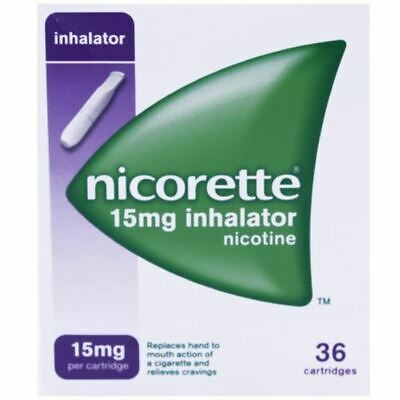 Nicorette 15mg Inhalator Nicotine 36 Cartridges 1 2 3 6 12 Packs