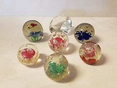 Lot of 7 Glass Paperweights Art Glass Controlled Bubble Diamond Coral Floral