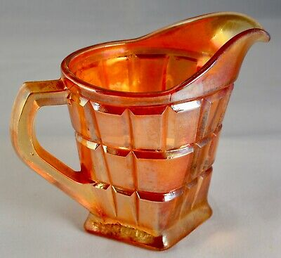 Vintage Carnival Glass Small Cream Or Milk Jug Marigold Colour Square Block