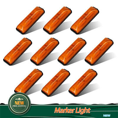 "10Pcs Amber 4"" Side Marker 4 LED Light Clearance Warning Indicator Fender  Lamps"