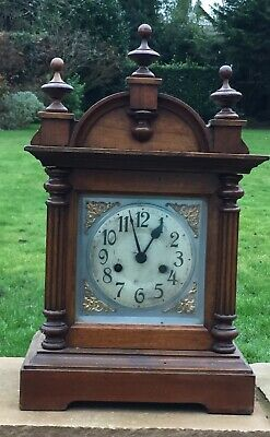 Antique Mahogany Wooden Mantel Clock