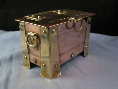 Antique Arts & Crafts Brass Copper Casket Trunk Trinket Jewellery Cigarette Box