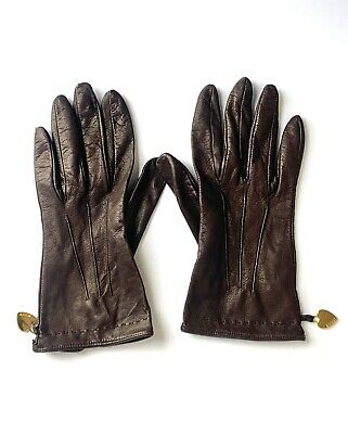 Women's Vintage Moschino Ultra soft Brown Leather Gloves w/ Gold Hearts, 7 1/2