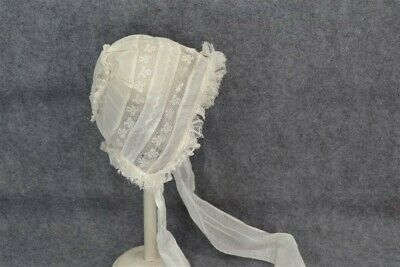 antique baby hat doll infant hand made white lace original museum 19thc