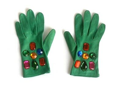 Women's Vintage Escada Emerald Green Jeweled Ultra Soft Leather Gloves, 7