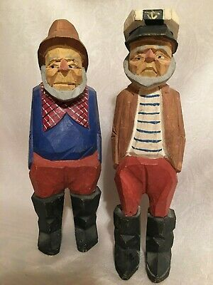 "TWO Sailor Sea Captain Fisherman Figurine Wooden Nautical 9"" Tall Hand Carved"