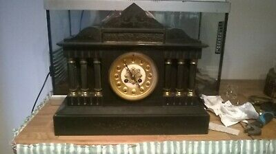 Antique Japy Freres slate marble mantle clock. circa 1800's.