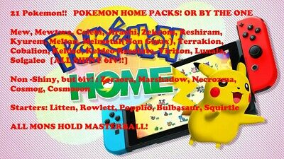 Pokemon Home Legendary+Starters! 6iv Shiny/Non. W/ MasterBalls!