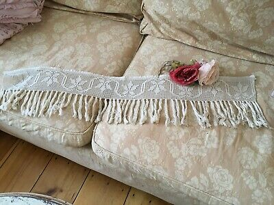 Lovely Antique Lace Victorian Mantle Valance Crocheted Tassels #B29