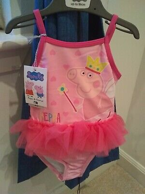 BNWT Baby Toddler Girls Peppa Pig Swimsuit swimming costume 12-18 months tutu