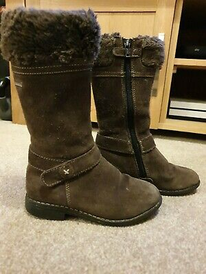Girl's brown Startrite winter boots with faux fur cuff - size infant 10F/EU 28F