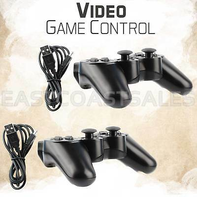2 Black Wireless Bluetooth Video Game Controller Pad For Sony PS3 Playstation 3