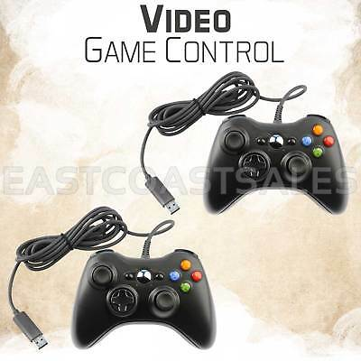 2 For Microsoft Xbox 360 & Windows PC USB Wired Video Game Controller Pad Black