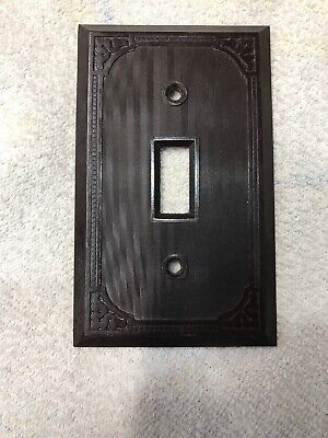 Art Deco Vintage Brown Bakelite Ribbed Border Light Switch Wall  Plate Cover