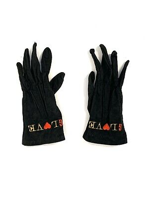 Women's Vintage Moschino Black Suede Gloves Gold Embroidered Red Hearts, size 7