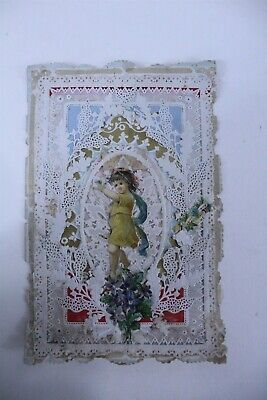 Antique Un-used Die-Cut Valentines Card Embossed 3D Paper Lace with Insert