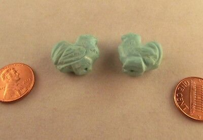 Semi Precious Carved Tibetan Turquoise Beads Roosters these 2 20mm tall