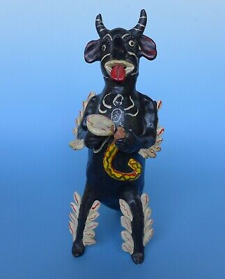 "Large vintage Mexican Ocumicho ceramic diablito devil whistle 12 1/2"" tall"