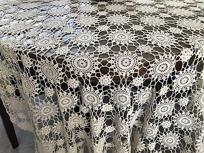 "Vintage Hand Made Crocheted Ecru Crochet Tablecloth/Coverlet 92""x 60""Rectangle"