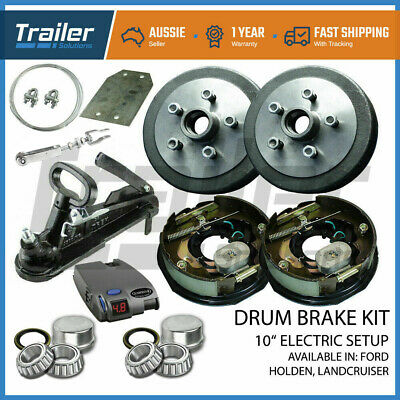 "10"" Trailer Electric Brake Kit Caravan Iq Controller Coupling Hitch Camper Boat"