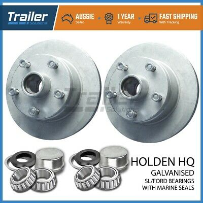 Trailer Parts Holden Hq Trailer Disc Hubs Pair Galvanised (Sl)  With Marine Seal