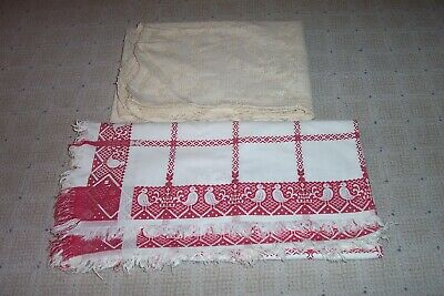 3 VTG TABLECLOTHS Beige Lace, Red White  Woven Bird Country Plaid Embroidery