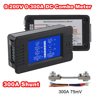 LCD Display DC Battery Monitor Meter 0-200V Voltmeter Ammeter 300A Shunt BI1343