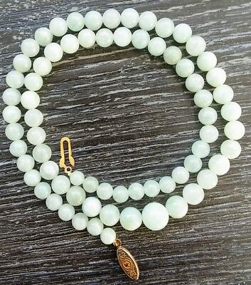 "Chinese Light Green Jade Graduated Round Bead Necklace 19 1/2"" 5.5-9.5 mm 1980's"