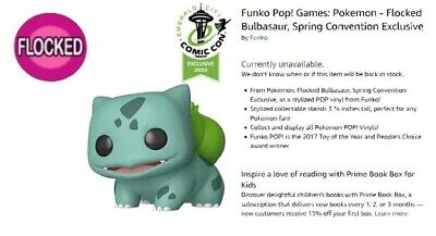 Funko Pop ! Games: Pokemon Flocked Bulbasaur Amazon Shared Exclusive Pre Order !
