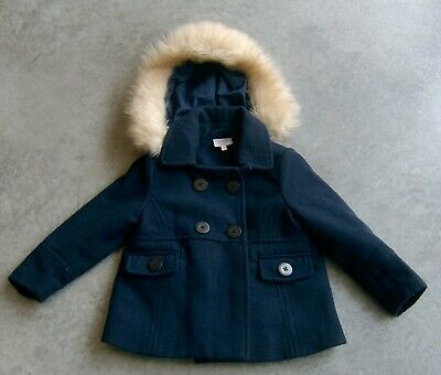 Seed Heritage Girls Navy Wool Blend Hooded Jacket / Coat Sz 2 - 3