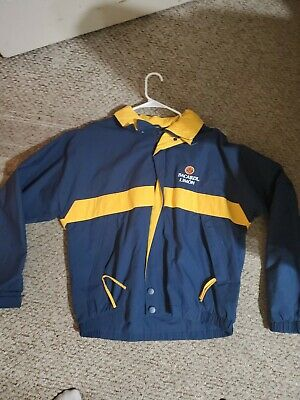 "VINTAGE ""BACARDI LIMON"" ZIP FRONT JACKET WINDBREAKER BLUE AND YELLOW Medium"