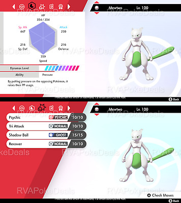 Pokemon Sword Shield / Ultra Shiny Mewtwo (Modest) / 6IV Dynamax Battle Ready