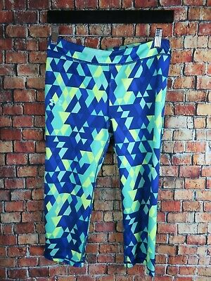 Under Armour Youth Girls Athletic Leggings Size Large Printed Fitted HeatGear