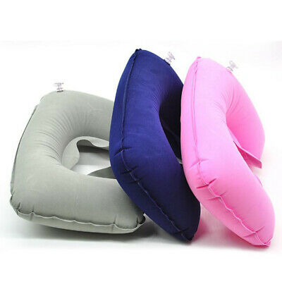 Car Flight Travel Soft Portable Inflatable Neck Rest Cushion U Pillow Support~F