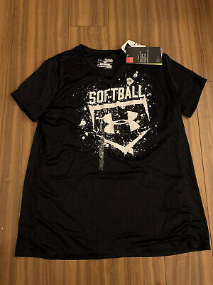New Under Armour Youth Girls Loose Xlarge Black Softball T Shirts Top