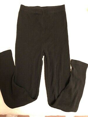 Girls size 7 leggings Cotton Polyester black ribbed made in USA