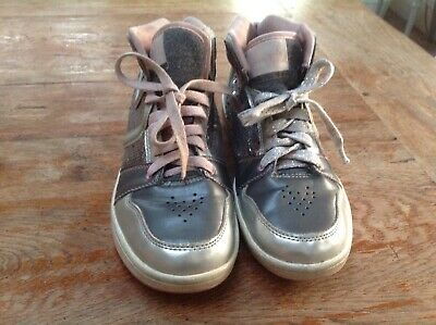 Pineapple Girls trainers shoes grey sequin sparkly pink lace ups Approx UK4