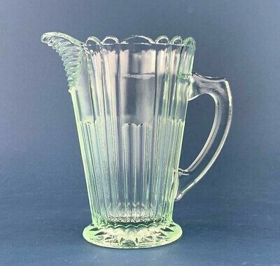 Vintage Art Deco Green Glass Jug Pitcher