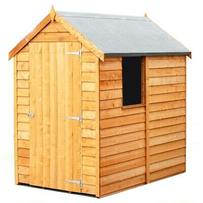 6ft x 4ft Wooden Overlap Garden Shed with Single Door and 1 Window 6x4