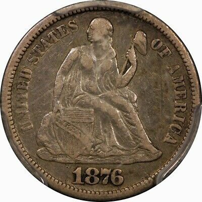1876-CC Seated Liberty Silver Dime PCGS VF25 rare old type coin
