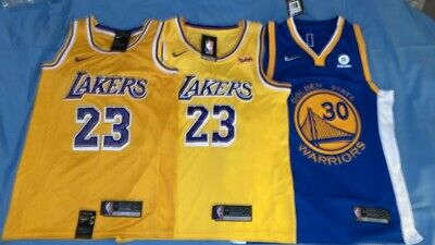 Lotto 3 Maglie Basket Nba L.a. Lakers Golden State 19/20 Lebron James Step Curry