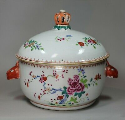 Chinese famille rose circular soup tureen and cover, Qianlong (1736-95)